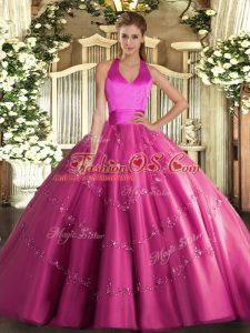 Halter Top Sleeveless Quince Ball Gowns Floor Length Appliques Hot Pink Tulle