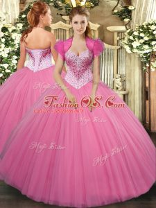 Amazing Floor Length Lace Up Vestidos de Quinceanera Rose Pink for Military Ball and Sweet 16 and Quinceanera with Beading