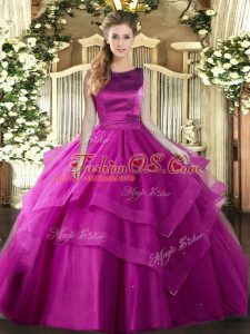 Great Fuchsia Sleeveless Floor Length Ruffles and Ruffled Layers Lace Up Quinceanera Gowns