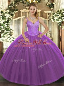 On Sale Ball Gowns Quinceanera Gowns Purple V-neck Tulle Sleeveless Floor Length Lace Up