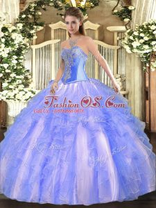 Lovely Sleeveless Beading and Ruffles Lace Up 15 Quinceanera Dress