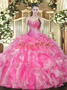 Modest Hot Pink Sweetheart Lace Up Beading and Ruffles Sweet 16 Quinceanera Dress Sleeveless