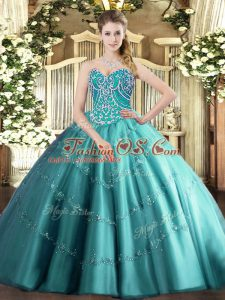 Lovely Teal Sleeveless Tulle Lace Up Sweet 16 Dress for Military Ball and Sweet 16 and Quinceanera