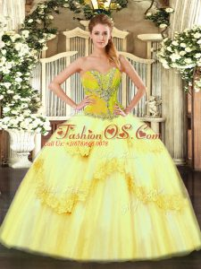 Dazzling Tulle Sweetheart Sleeveless Lace Up Beading and Ruffles 15th Birthday Dress in Yellow