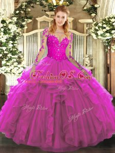 Stunning Fuchsia Quince Ball Gowns Military Ball and Sweet 16 and Quinceanera with Lace and Ruffles Scoop Long Sleeves Lace Up