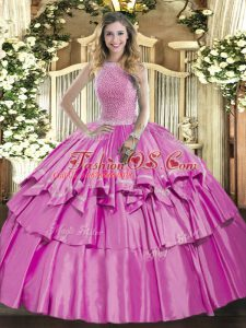 Lilac Sleeveless Organza and Taffeta Lace Up Quinceanera Dresses for Military Ball and Sweet 16 and Quinceanera