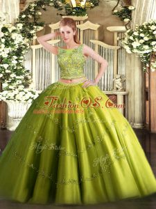 Custom Fit Olive Green Two Pieces Scoop Sleeveless Tulle Floor Length Lace Up Beading and Appliques Sweet 16 Dresses
