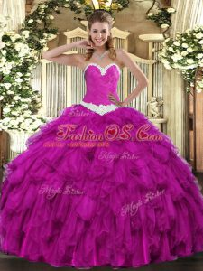 High Quality Fuchsia Lace Up Quinceanera Gown Appliques and Ruffles Sleeveless Floor Length