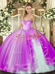 Lilac Lace Up Sweetheart Beading and Ruffles 15th Birthday Dress Tulle Sleeveless
