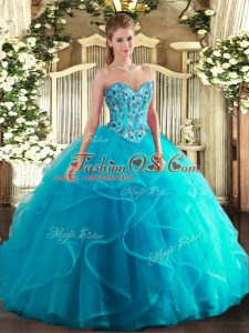 Aqua Blue Tulle and Printed Lace Up Sweet 16 Quinceanera Dress Sleeveless Floor Length Embroidery and Ruffles
