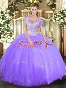 Exquisite Scoop Sleeveless Quinceanera Dress Floor Length Beading Lavender Tulle