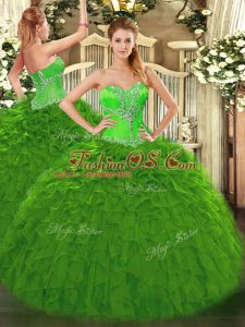 Green Organza Lace Up Sweetheart Sleeveless Floor Length Sweet 16 Quinceanera Dress Beading and Ruffles