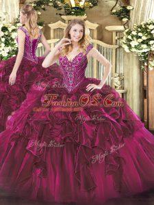 Clearance Fuchsia Lace Up Vestidos de Quinceanera Beading and Ruffles Sleeveless Floor Length