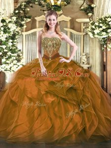 Flirting Floor Length Lace Up 15th Birthday Dress Brown for Military Ball and Sweet 16 and Quinceanera with Beading and Ruffles
