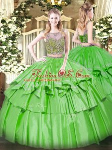 Customized Sleeveless Floor Length Beading and Ruffled Layers Lace Up Sweet 16 Dresses