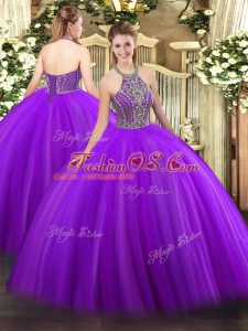 Fantastic Sleeveless Beading Lace Up Quince Ball Gowns