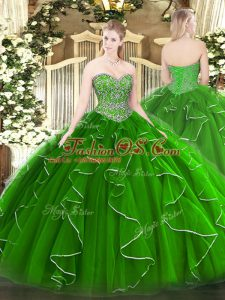 Latest Green Sweetheart Lace Up Beading and Ruffles Sweet 16 Dress Sleeveless