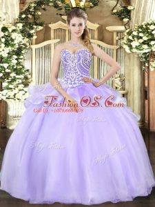 Super Sleeveless Beading Lace Up Quinceanera Gowns