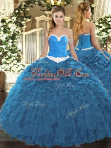 Sleeveless Floor Length Appliques and Ruffles Lace Up Quince Ball Gowns with Blue