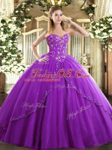 Eggplant Purple Lace Up Sweet 16 Dresses Appliques and Embroidery Sleeveless Brush Train