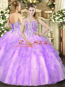 Beautiful Sweetheart Sleeveless 15th Birthday Dress Floor Length Beading and Ruffles Lavender Tulle