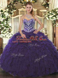 Delicate Purple Lace Up Sweetheart Beading and Ruffled Layers Quinceanera Dress Tulle Sleeveless
