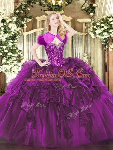 Romantic Purple Ball Gowns Beading and Ruffles Quinceanera Dress Lace Up Organza Sleeveless Floor Length