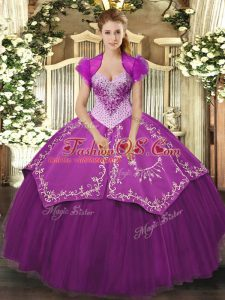 Sweetheart Sleeveless Satin and Tulle 15th Birthday Dress Beading and Embroidery Lace Up
