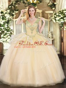 Ideal Sleeveless Floor Length Beading Lace Up Quinceanera Gowns with Champagne