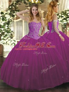 Decent Fuchsia Sleeveless Beading Floor Length 15th Birthday Dress