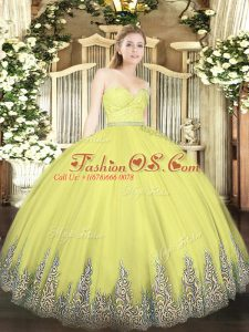 Custom Fit Yellow Mermaid Tulle Sweetheart Sleeveless Beading and Lace and Appliques Floor Length Zipper Quinceanera Dress