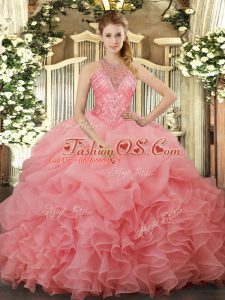 Simple Watermelon Red Sleeveless Floor Length Beading and Ruffles and Pick Ups Lace Up Quinceanera Dress