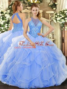 Great Sleeveless Organza Floor Length Lace Up Sweet 16 Dress in Light Blue with Beading and Ruffles