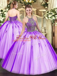 Sophisticated Floor Length Eggplant Purple Quinceanera Gowns Tulle Sleeveless Beading