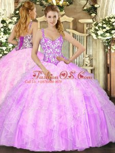Designer Lilac Sleeveless Floor Length Beading and Ruffles Lace Up Quinceanera Gown
