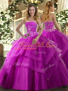 Traditional Fuchsia Ball Gowns Beading and Ruffled Layers Quinceanera Dress Lace Up Tulle Sleeveless Floor Length