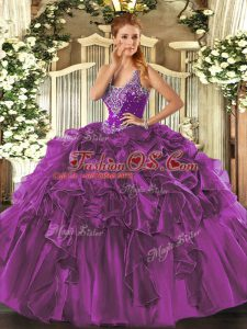 Eggplant Purple Organza Lace Up 15 Quinceanera Dress Sleeveless Floor Length Beading and Ruffles
