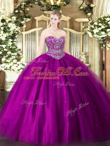 Sleeveless Floor Length Beading Lace Up Vestidos de Quinceanera with Fuchsia