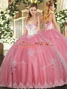 Great Sleeveless Floor Length Beading and Appliques Lace Up Sweet 16 Dresses with Watermelon Red