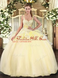 Romantic Gold 15th Birthday Dress Military Ball and Sweet 16 and Quinceanera with Beading Straps Sleeveless Lace Up