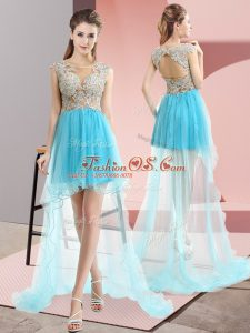 Scoop Sleeveless Tulle Party Dresses Beading Sweep Train Lace Up