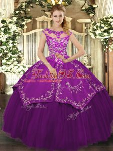 Nice Scoop Cap Sleeves Lace Up Quinceanera Dress Eggplant Purple Satin and Tulle