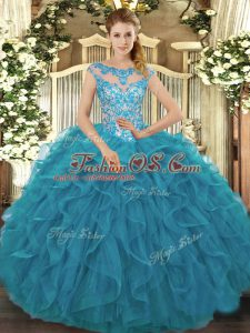 Teal Scoop Neckline Beading and Ruffles Sweet 16 Quinceanera Dress Cap Sleeves Lace Up