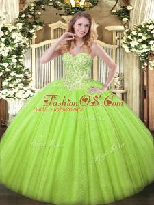 Fabulous Sleeveless Floor Length Appliques Lace Up Quinceanera Dress with Yellow Green