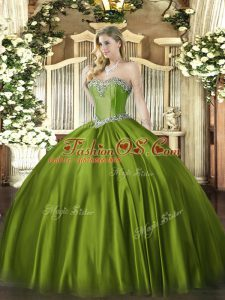 Beauteous Olive Green Sweet 16 Quinceanera Dress Military Ball and Sweet 16 and Quinceanera with Beading Sweetheart Sleeveless Lace Up