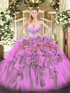 Floor Length Lace Up Quinceanera Dresses Lilac for Military Ball and Sweet 16 and Quinceanera with Beading and Ruffles