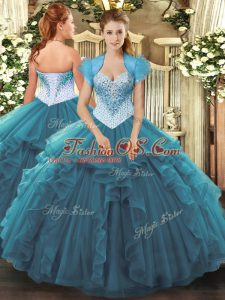 Top Selling Floor Length Lace Up 15 Quinceanera Dress Teal for Military Ball and Sweet 16 and Quinceanera with Beading and Ruffles