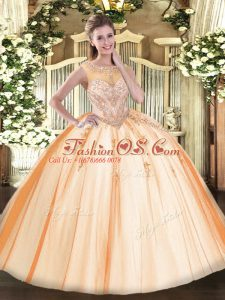 Scoop Sleeveless Tulle Quinceanera Dress Beading and Appliques Zipper