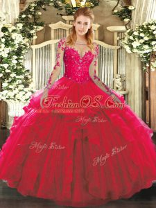 Red Quinceanera Gowns Military Ball and Sweet 16 and Quinceanera with Lace and Ruffles Scoop Long Sleeves Lace Up