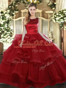 Vintage Wine Red Sleeveless Tulle Lace Up Vestidos de Quinceanera for Military Ball and Sweet 16 and Quinceanera